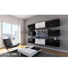 Ensemble meuble TV CONCEPT 7/HG/BW/2 noir/blanc brillant 249 cm