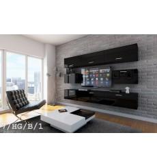 Ensemble meuble TV CONCEPT 7-7/HG/B/1 noir brillant 249 cm