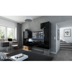 Ensemble meuble TV CONCEPT 9-9/HG/B/1 noir brillant 249 cm