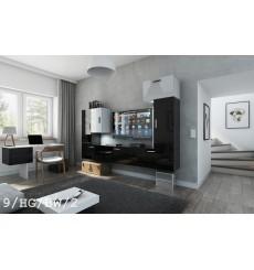 Ensemble meuble TV CONCEPT 9/HG/BW/2 noir/blanc brillant 249 cm