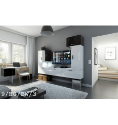 Ensemble meuble TV CONCEPT 9-9/HG/BW/3 blanc/noir brillant 249 cm