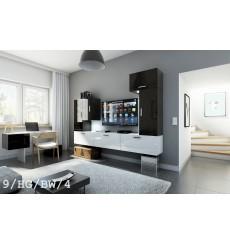 Ensemble meuble TV CONCEPT 9/HG/BW/4 noir/blanc brillant 249 cm