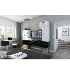Ensemble meuble TV CONCEPT 9/HG/BW/5 blanc/noir brillant 249 cm