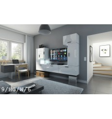 Ensemble meuble TV CONCEPT 9/HG/W/6 blanc brillant 249 cm