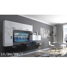 Ensemble meuble TV CONCEPT 10-10/HG/BW/7 blanc/noir brillant 249 cm