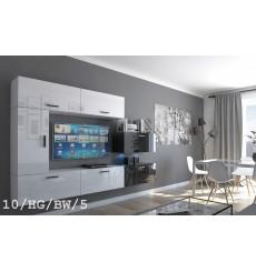 Ensemble meuble TV CONCEPT 10-10/HG/BW/5 blanc/noir brillant 249 cm