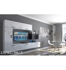 Ensemble meuble TV CONCEPT 10-10/HG/BW/3 blanc/noir brillant 249 cm