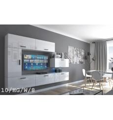 Ensemble meuble TV CONCEPT 10-10/HG/W/8 blanc brillant 249 cm