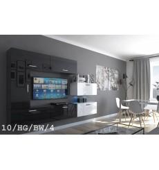 Ensemble meuble TV CONCEPT 10-10/HG/BW/4 noir/blanc brillant 249 cm
