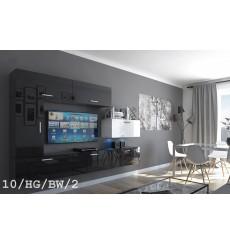 Ensemble meuble TV CONCEPT 10-10/HG/BW/2 noir/blanc brillant 249 cm
