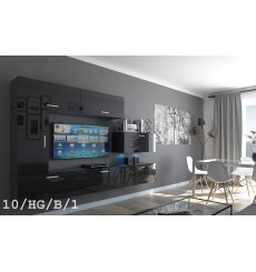 Ensemble meuble TV CONCEPT 10-10/HG/B/1 noir brillant 249 cm