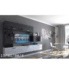 Ensemble meuble TV CONCEPT 10-10/HG/BW/6 noir/blanc brillant 249 cm