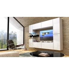 Ensemble meuble TV CONCEPT 13 C13/HG/W/4 blanc/noir brillant 240 cm