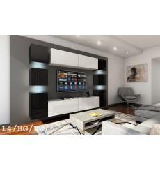Ensemble meuble TV CONCEPT 14-14/HG/BW/6 noir/blanc brillant 256 cm