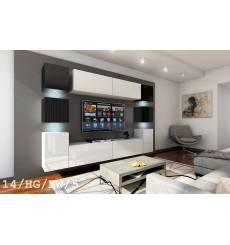 Ensemble meuble TV CONCEPT 14-14/HG/BW/56 blanc/noir brillant 256 cm