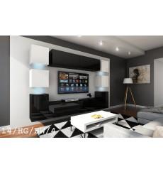 Ensemble meuble TV CONCEPT 14/HG/BW/4 noir/blanc brillant 256 cm
