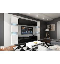 Ensemble meuble TV CONCEPT 14-14/HG/BW/7 blanc/noir brillant 256 cm
