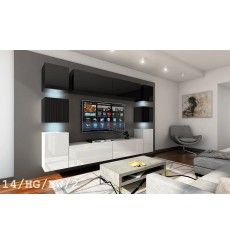 Ensemble meuble TV CONCEPT 14/HG/BW/2 noir/blanc brillant 256 cm