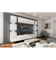 Ensemble meuble TV CONCEPT 14/HG/W/8 blanc brillant 256 cm