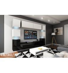 Ensemble meuble TV CONCEPT 14-14/HG/BW/3 blanc/noir brillant 256 cm