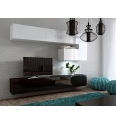 Ensemble meuble TV CONCEPT 15 blanc/noir brillant  249 cm