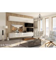 Ensemble meuble TV CONCEPT 16-16/HG/BW/3 blanc/noir brillant 249 cm