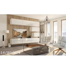 Ensemble meuble TV CONCEPT 16-16/HG/W/4 blanc brillant 249 cm