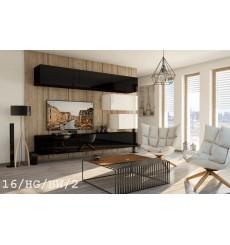 Ensemble meuble TV CONCEPT 16-16/HG/BW/2 noir/blanc brillant 249 cm