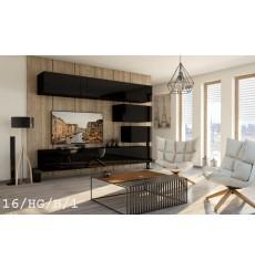 Ensemble meuble TV CONCEPT 16-16/HG/B/1 noir brillant 249 cm