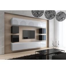 Ensemble meuble TV CONCEPT 17 C17-18WB-HG3-1A blanc/noir brillant 249 cm