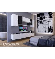 Ensemble meuble TV CONCEPT 19/HG/BW/3-1B blanc/noir brillant 276 cm