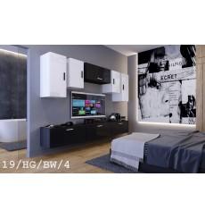 Ensemble meuble TV CONCEPT 19/HG/BW/4-1B noir/blanc brillant 276 cm