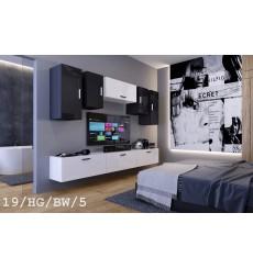 Ensemble meuble TV CONCEPT 19/HG/BW/5-1B blanc/noir brillant 276 cm