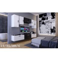 Ensemble meuble TV CONCEPT 19/HG/BW/6-1B blanc/noir brillant 276 cm