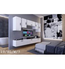 Ensemble meuble TV CONCEPT 19/HG/W/7-1B blanc brillant 276 cm