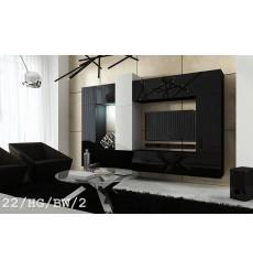 Ensemble meuble TV CONCEPT 22/HG/BW/2 noir/blanc brillant 273 cm