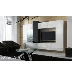 Ensemble meuble TV CONCEPT 22-22/HG/BW/3 blanc/noir brillant 273 cm