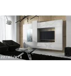 Ensemble meuble TV CONCEPT 22/HG/W/4 blanc brillant 273 cm