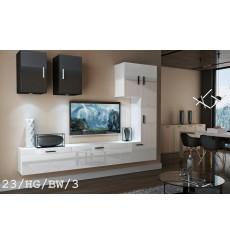 Ensemble meuble TV CONCEPT 23-23/HG/BW/5 blanc/noir brillant 249 cm