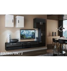 Ensemble meuble TV CONCEPT 23-23/HG/BW/2 noir/blanc brillant 249 cm