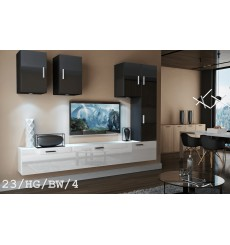 Ensemble meuble TV CONCEPT 23-23/HG/BW/4 noir/blanc brillant 249 cm