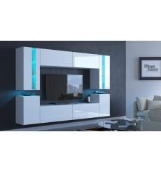 Ensemble meuble TV CONCEPT 24-24/HG/W/2-1B blanc brillant 256 cm