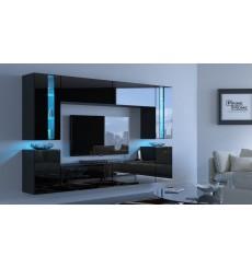Ensemble meuble TV CONCEPT 24-24/HG/B/1-1B noir brillant 256 cm