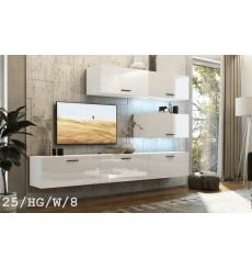 Ensemble meuble TV CONCEPT 25/HG/W/8 blanc brillant 166-249 x 35 x 191 cm
