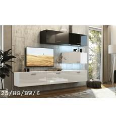 Ensemble meuble TV CONCEPT 25-25/HG/BW/6 blanc/noir brillant 166-249 x 35 x 191 cm