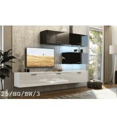 Ensemble meuble TV CONCEPT 25-25/HG/BW/3 noir/blanc brillant 166-249 x 35 x 191 cm