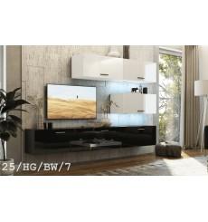 Ensemble meuble TV CONCEPT 25-25/HG/BW/7 blanc/noir brillant 166-249 x 35 x 191 cm