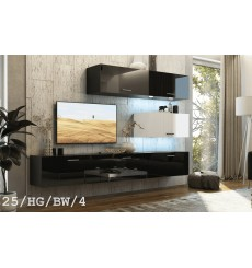 Ensemble meuble TV CONCEPT 25-25/HG/BW/4 noir/blanc brillant 166-249 x 35 x 191 cm