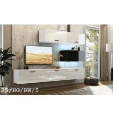 Ensemble meuble TV CONCEPT 25-25/HG/BW/5 blanc/noir brillant 166-249 x 35 x 191 cm