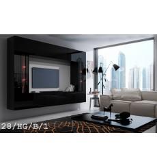 Ensemble meuble TV CONCEPT 28-28/HG/B/1-1A noir brillant 249 cm